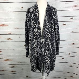 Charter Club Cashmere Leopard Duster Sweater